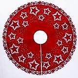 Onner Christmas Tree Skirt, Durable Round Felt Christmas Tree Bottom Vintage Star Pattern Xmas Decorative Skirt (Red)