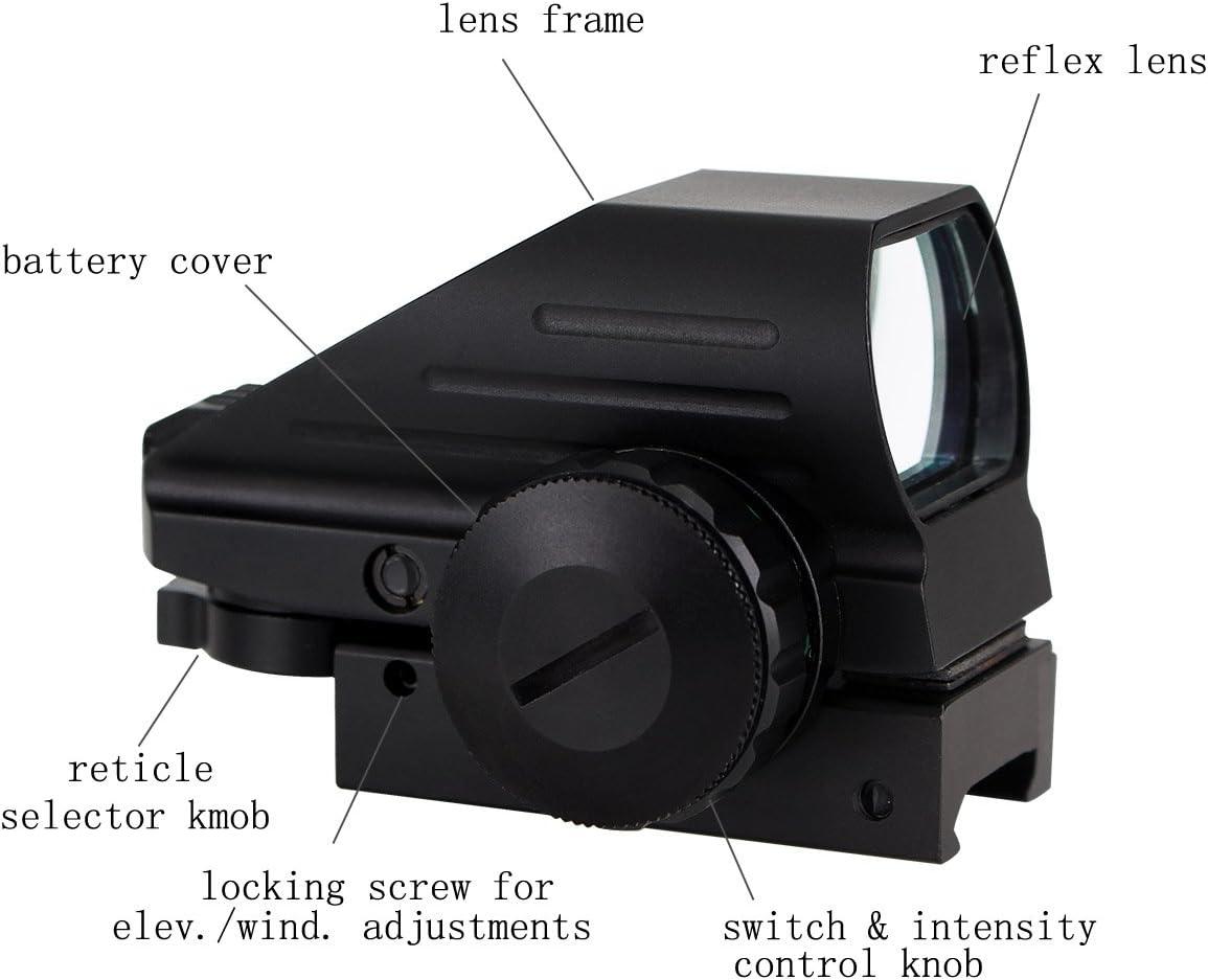 Svbony Mira Punto Rojo 20mm Mira Telescopica con 4 Ret/ículas y 5 Niveles de Brillo Visor Holografico para Actividades Deportivas Negro