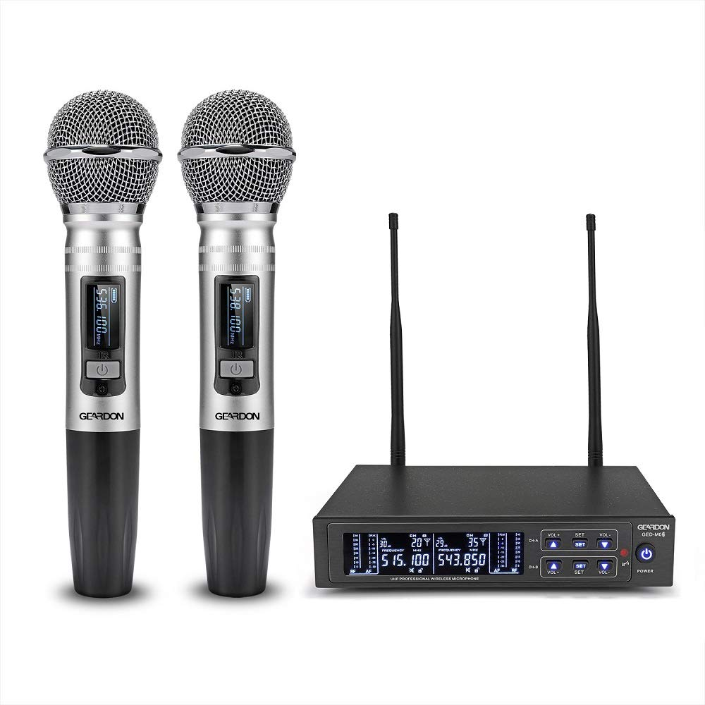 GEARDON Dual Wireless Microphone System, 200 Channel UHF Metal Cordless Handheld Mic Set with 250ft Long Range Professional Performance for Presentation/Church/Karaoke by GEARDON (Image #2)