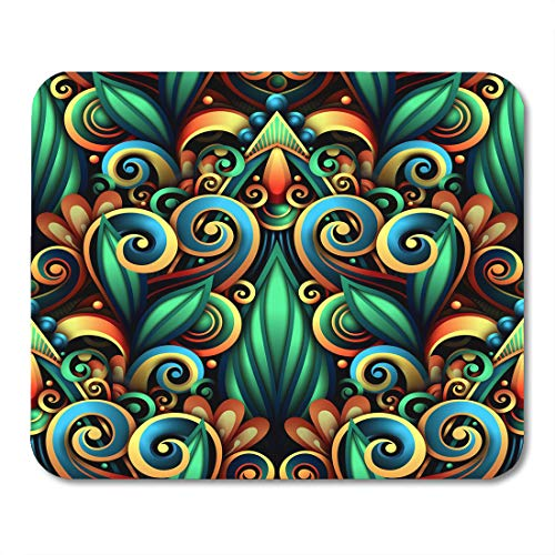 - Nakamela Mouse Pads Abstract Colorful Batik Colored with Floral with Swirls Doodle Flowers and Leaves Detailed Abstraction Mouse mats 9.5