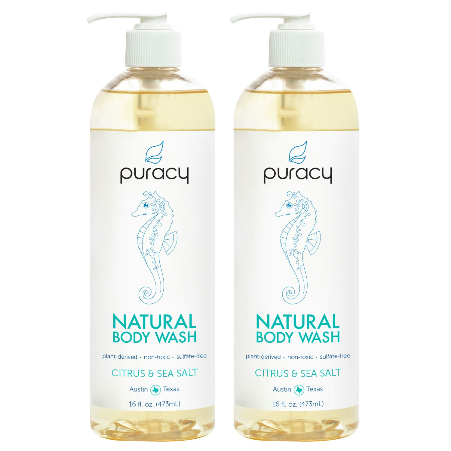 Puracy Natural Body Wash, Citrus & Sea Salt, Sulfate-Free Bath and Shower Gel, 16 Ounce (2-Pack) by Puracy