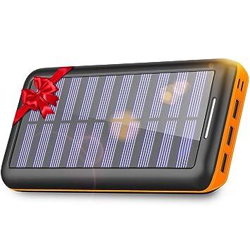 KEDRON 24000mAh Cargador Móvil Portátil Batería Externa con 3 Puertos de Salida y Entrada Doble Solar Power Bank para Smartphones, Tablet y Otros ...