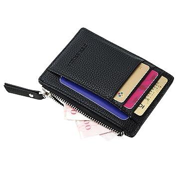 Badiya Leather Slim Zipper Wallet Mini Coin