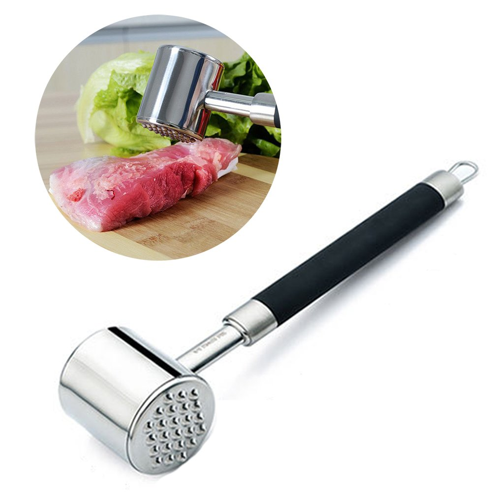 Annengjin High Quality 18-10 Stainless Steel Meat Tenderizer Meat Hammer Long Handle for Beef, Steak, Chicken, Pork and Veal