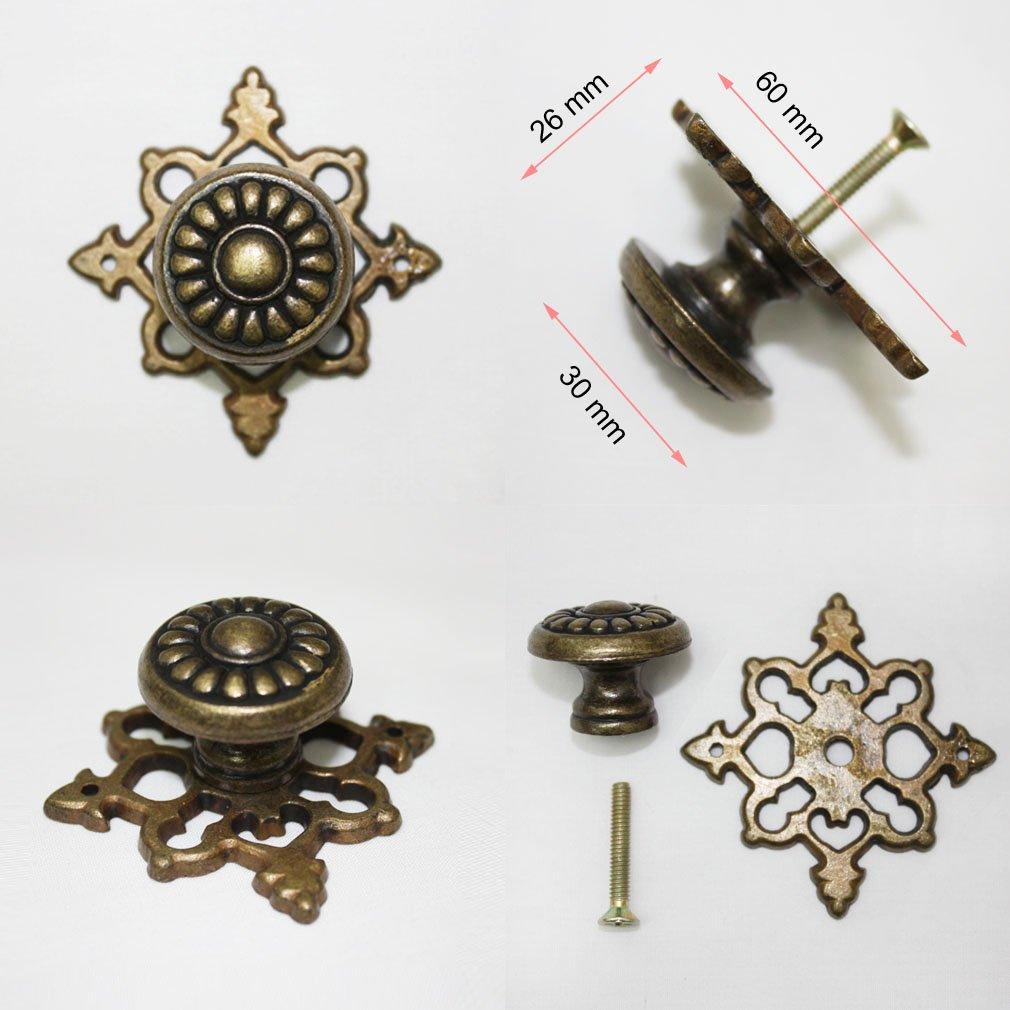 Pack of 10 Vintage Brown Metal 30 mm Knob Cabinet Drawer Pulls Hardware SCX3447 by JC Handle (Image #2)