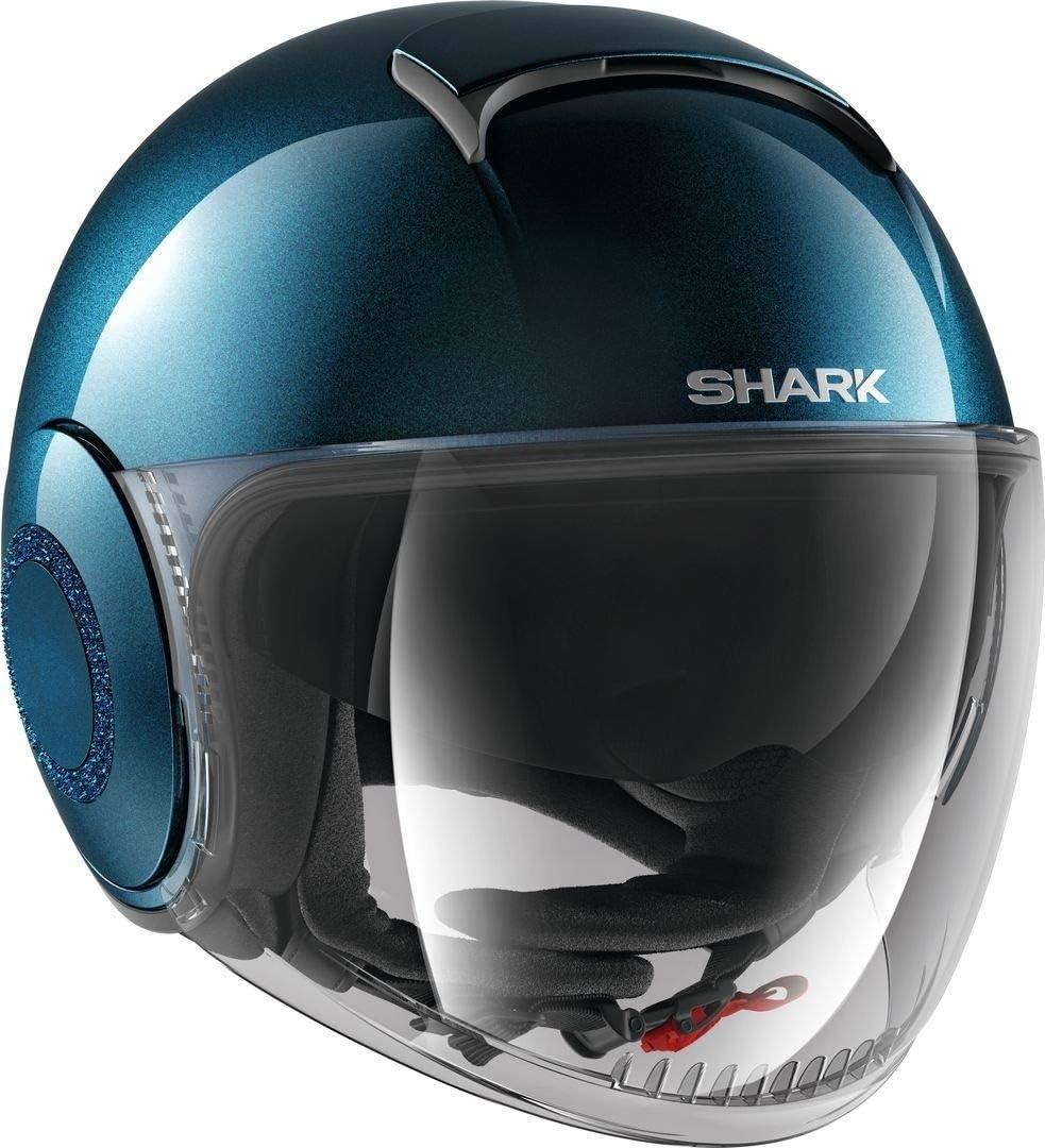 Casque jet Shark Nano Crystal SWAROVSKI Bleu m/étal BLM Taille XS