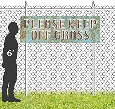 12x4 Please Keep Off Grass Ghost Aged Blue Wind-Resistant Outdoor Mesh Vinyl Banner CGSignLab