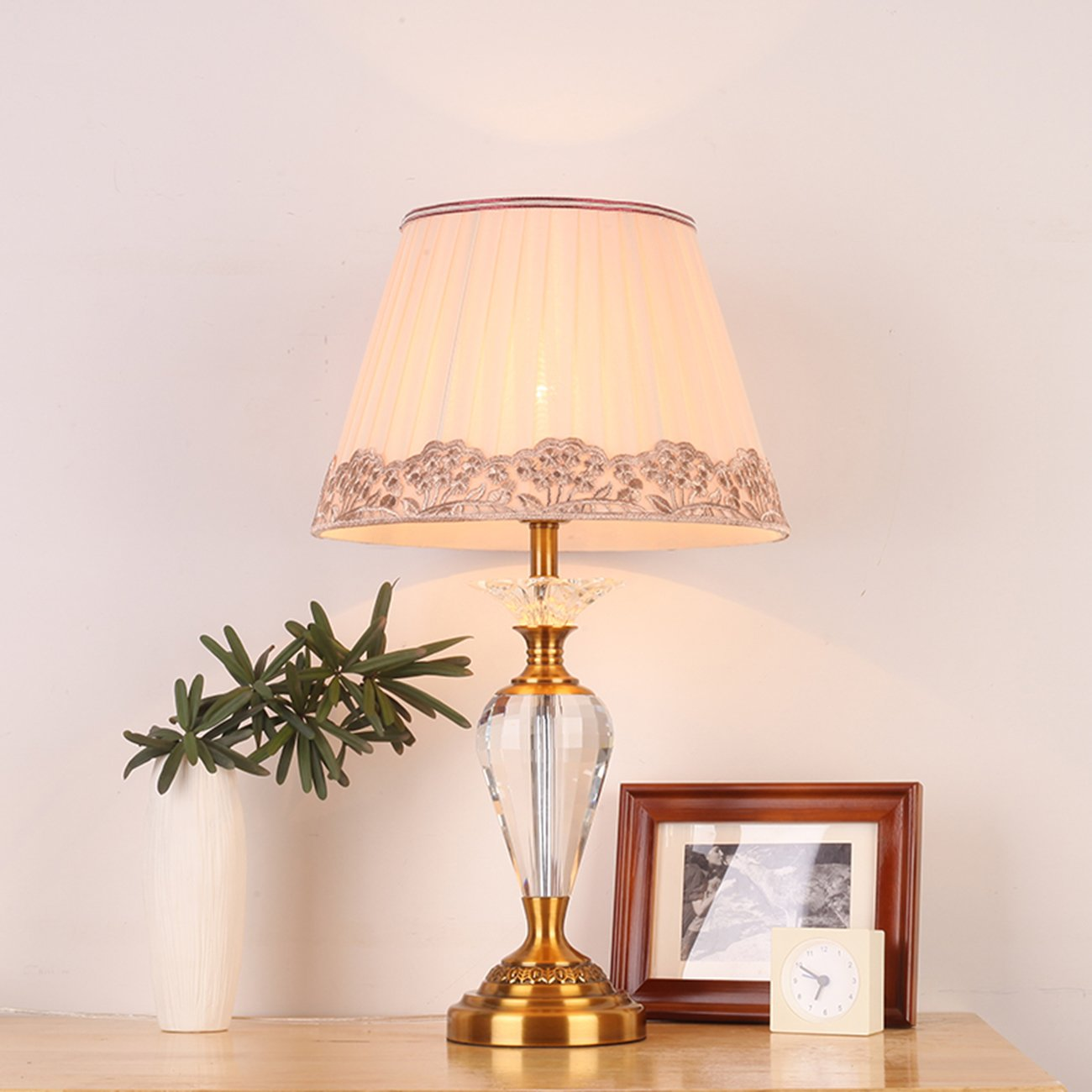 Garwarm Crystal Flower Table Lamps For Living Room Bedroom,3359CM/1323.2 Inch WH