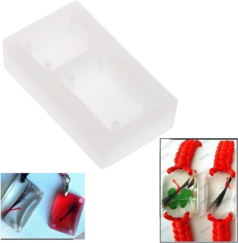 Rectangle Silicone Mold Resin DIY Bracelet Pendants Jewellery Making Mould Hole