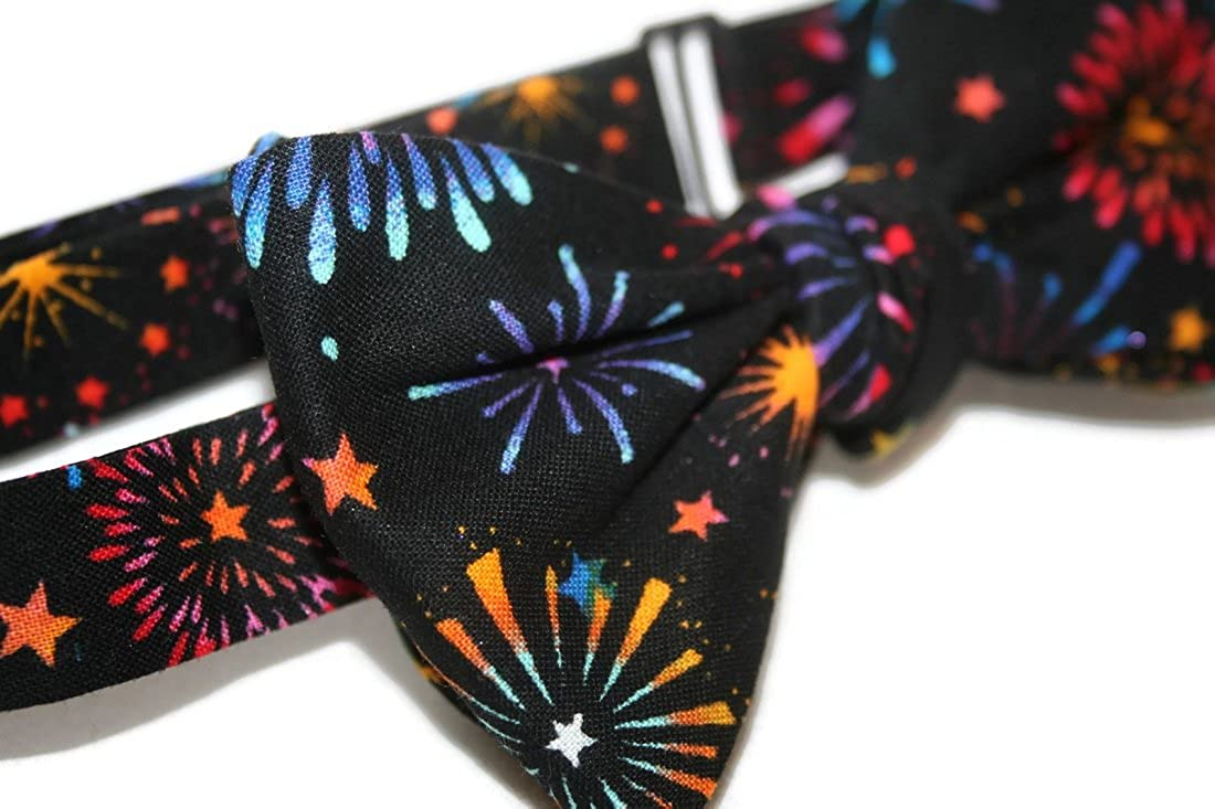 Self-Tie Bow Tie Black with Multi Colored Firework Celebration