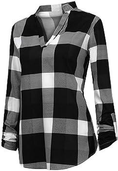 Blusas para Mujer SUNNSEAN Camisa de Cuadros de Manga Larga a Juego Casual Femenino de Mujer Blusa Tops Blusas Mujer Elegante Tallas Grandes Camisetas: Amazon.es: Ropa y accesorios