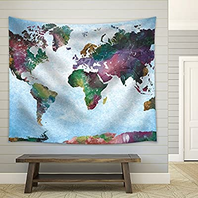 Colorful Watercolor World Map on a Blue Vignette Background, Classic Artwork, Dazzling Piece of Art
