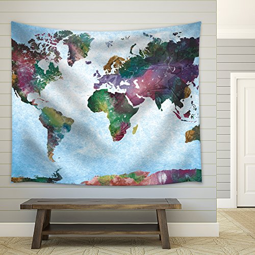 Colorful Watercolor World Map on a Blue Vignette Background