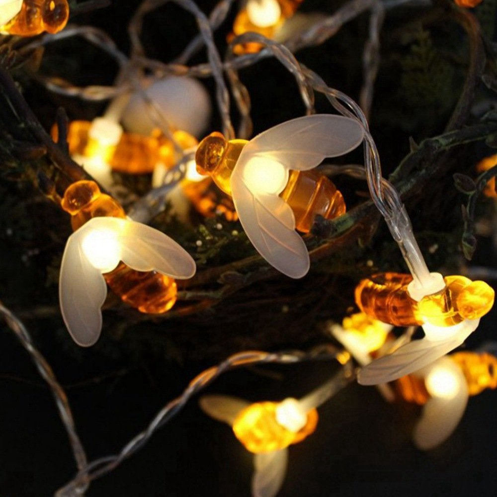 Loriver Battery Operated Bee-Shaped String Lights Christmas Children's Room Party Animal Decorative Lights, 1 Meter 10 Lights by Loriver (Image #4)