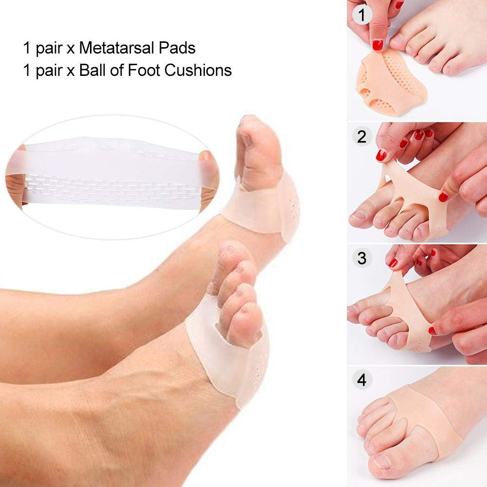 Ball of Foot Cushions Set Soft Breathable Non-Slip Silicone Foot Pads for Pain Relief Bunion Forefoot Cushioning Relief