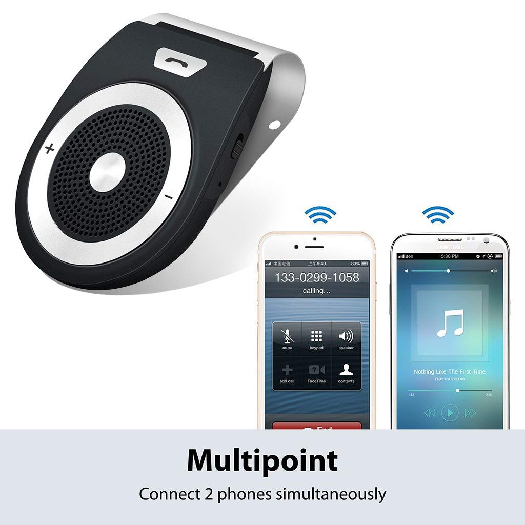 Wireless in-car Speakerphone Bluetooth Speakers for Car Motion AUTO-ON Bluetooth 4.1 Hands-Free Visor Car Kit Stereo Music Receiver for Safely Driving with Siri Google Assistant Voice Command