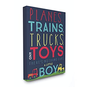 The Kids Room by Stupell Planes, Trains, Trucks and Toys Stretched Canvas Wall Art, 16x20
