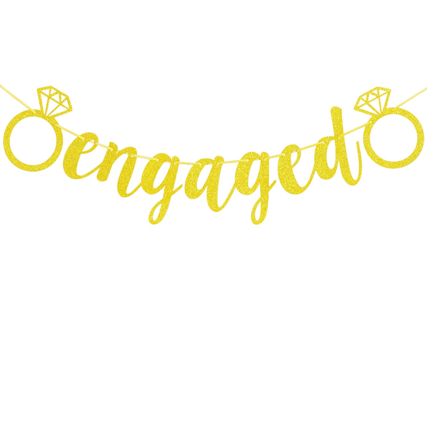 Engagement Party Decorations - Extra-Large Engaged Banner Gold Glittery Letters and Diamond Ring, Engagement, Bridal Shower Party Decorations