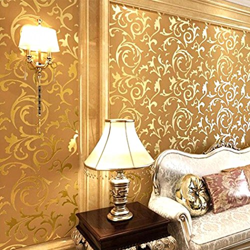 Textured Wallpaper Gold (Fashine Non-Woven 3D Print Embossed Textured Bricks Wallpaper for Home Kitchen Office (Gold))