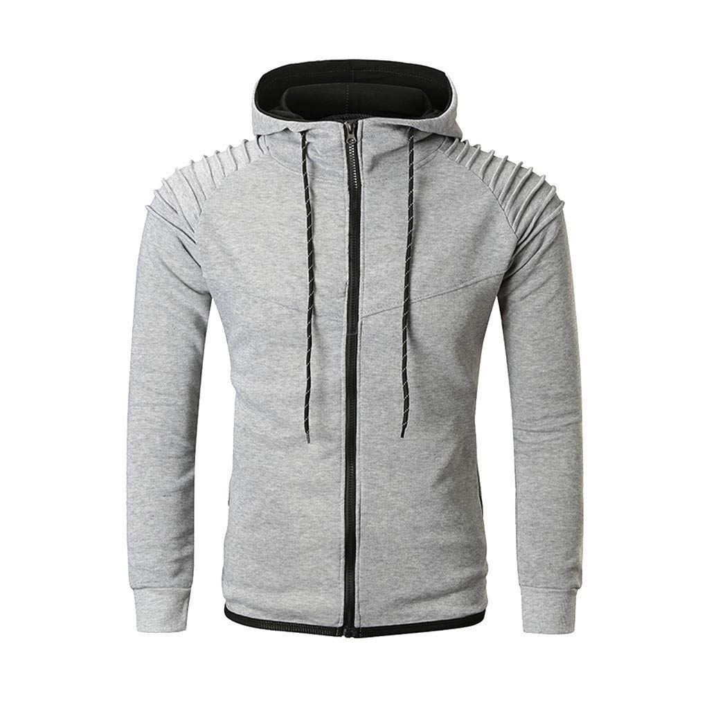 TOPBIGGER Hoodies for Men Zipper Lightweight Long Sleeve Mens Jackets Sports Full Zip Sweatshirts Gray by TOPBIGGER