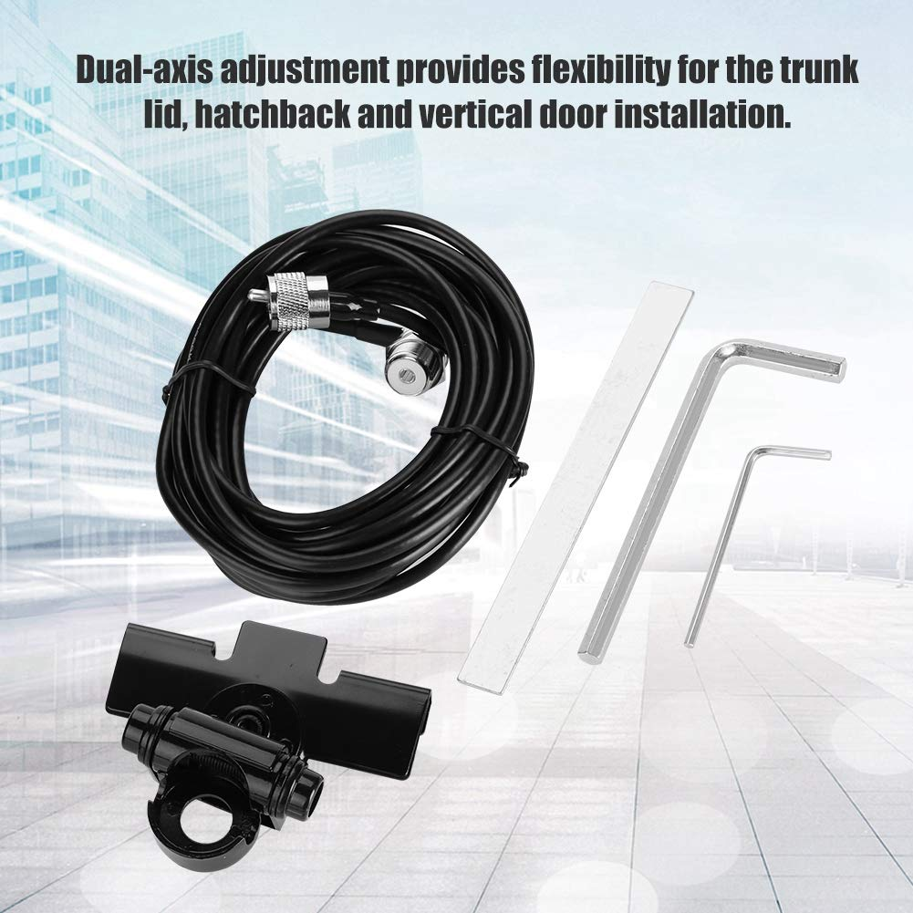 Mobile Radio Antenna for Vehicle Clip Mount//Trunk Lid//Hatchback//Door Mount Sanpyl Car Antenna Mount Bracket with 5M PL259 Extension Cable