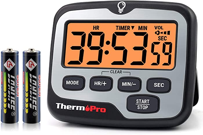 ThermoPro TM01 Digital Kitchen Timer with Touchable Backlit and Count up Countdown Timer Loud Ring Magnetic Classroom Timer for Kids Teachers