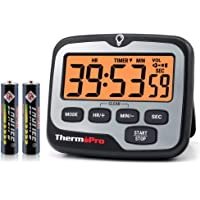 ThermoPro TM01 Digital Kitchen Timer with Touchable Backlit and Count up Countdown Timer Loud Ring Magnetic Classroom…