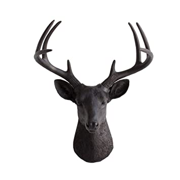 Wall Charmers Deer Head By Black Faux Head Mount Bust Fake Animal Art Resin  Taxidermy Decor