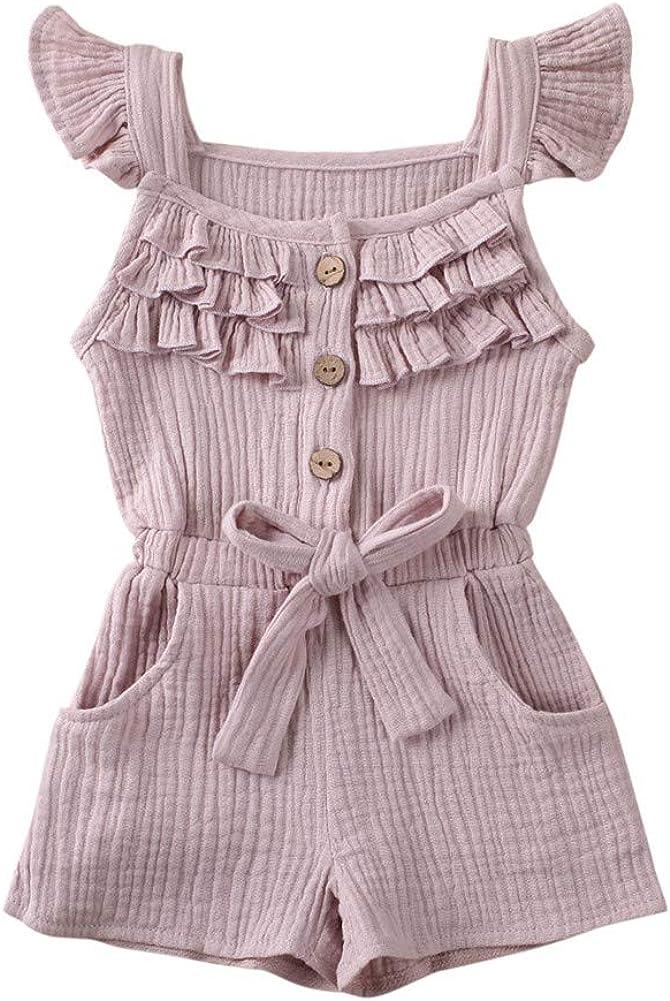 Rtnnsbbfcm Toddler Baby Girl Valentine's Day Romper Bodysuit Heart Print Sleeveless Strap Ruffle Jumpsuit Outfit