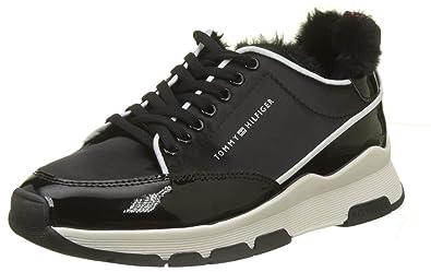 e84760d9f0ef1 Tommy Hilfiger Damen COOL Technical Satin Sneaker, Schwarz (Black 990), 36  EU