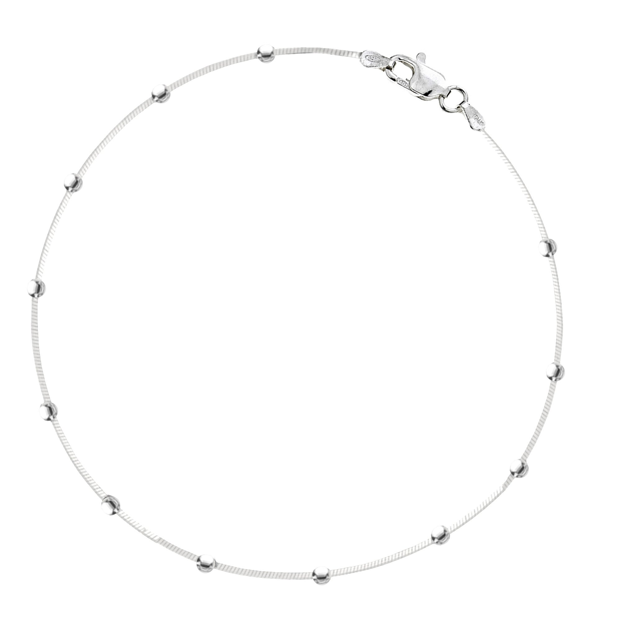 Sterling Silver Snake Bead Italian Foot Chain Anklet Ankle Bracelet