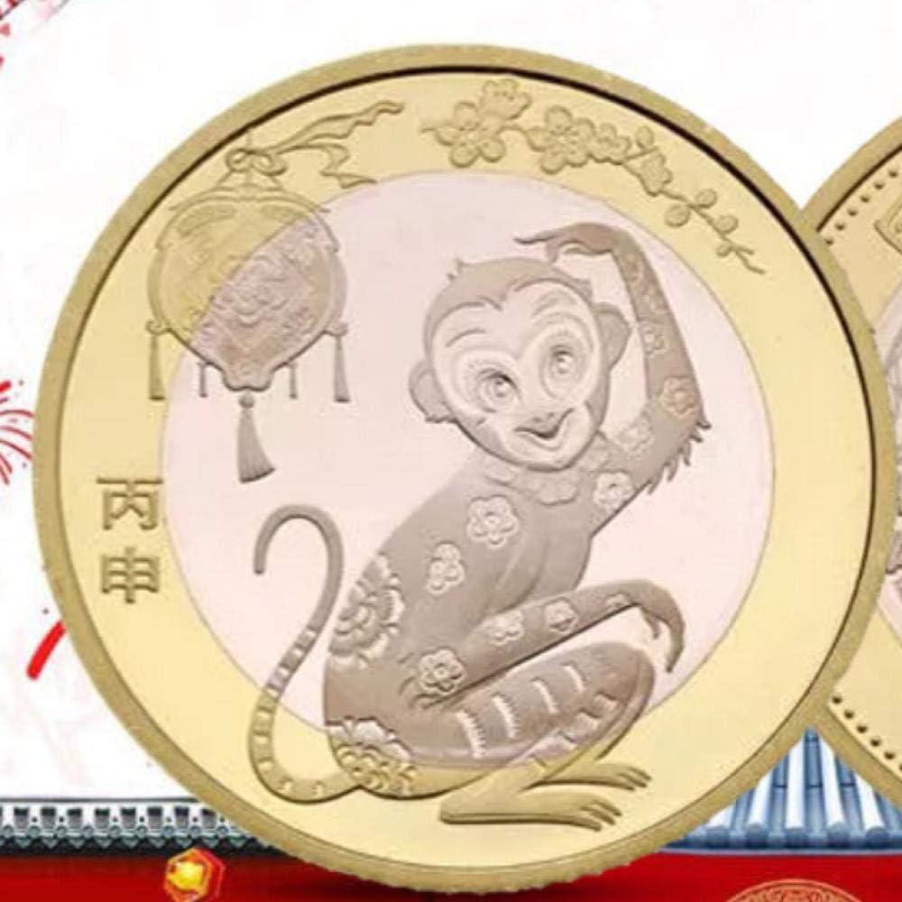 nxychunmei 3JSDC Moneda Conmemorativa China del año del Mono 2016 Moneda del Mono del Zodiaco de Dos años 10 yuanes y Moneda del año Nuevo Chino 200: Amazon.es: Juguetes y juegos