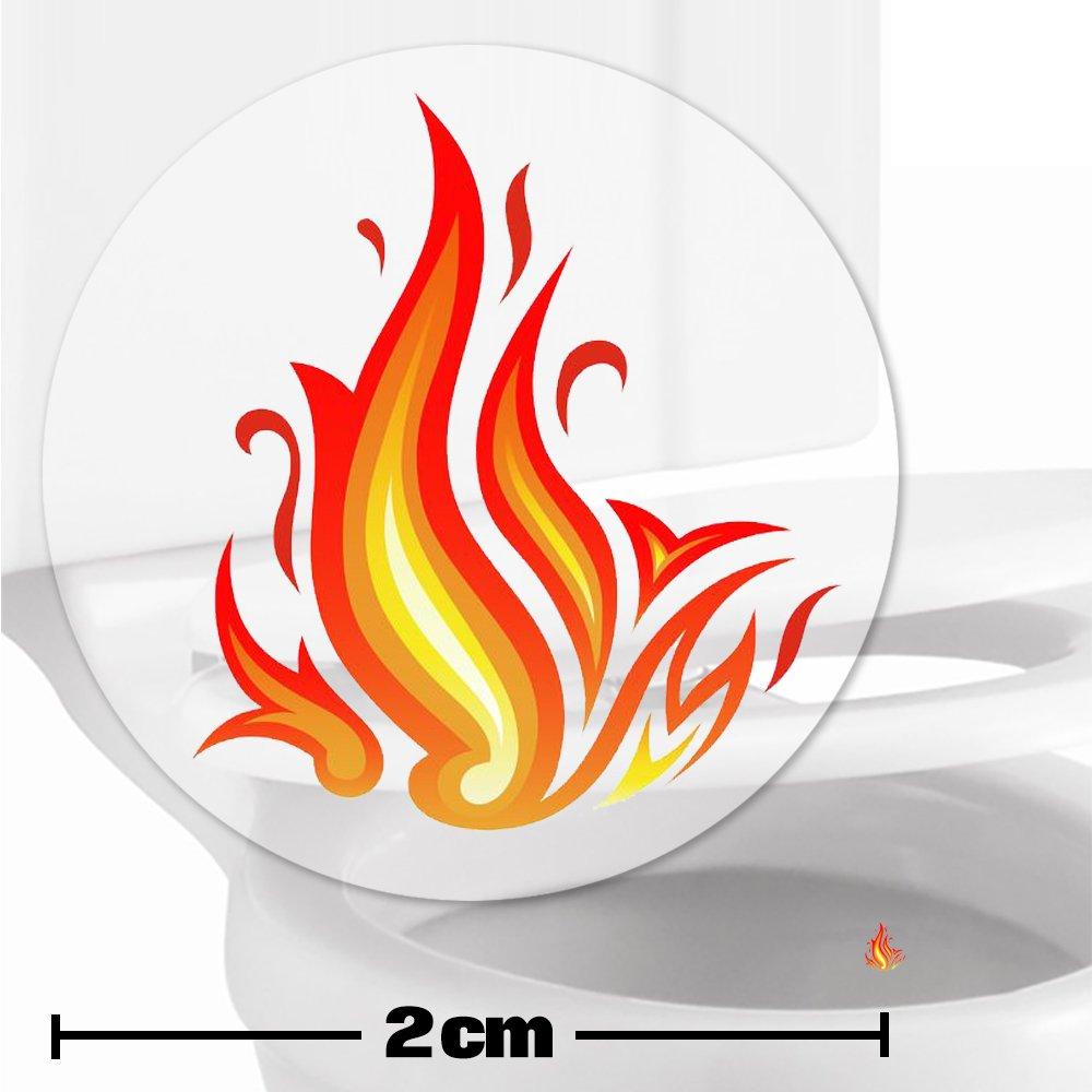 10 x pegatinas con diana de llama ardiente (2cm) Ayuda para que los niños aprender a ir al baño. Divertido entrenamiento para usar el inodoro en el cuarto de baño. Toilet Marksman TM-FLAMES-10