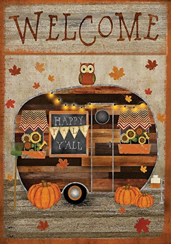 fall camper primitive garden flag
