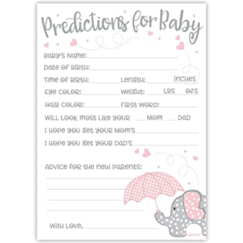 50 Pink Elephant Predictions and Advice Cards - Girl Baby Shower Game