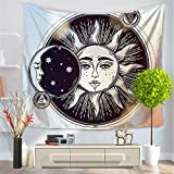Psychedelic Tapestry,Moon and Sun with Many Fractal Faces Celestial Energy Mystic , Wall Hanging for Bedroom Living Room Dorm (CS-BS12-1)