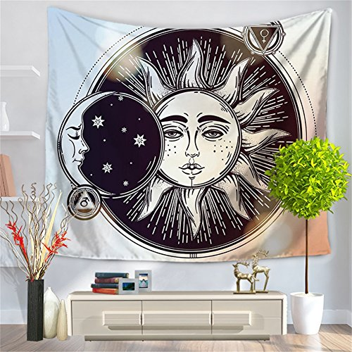 Psychedelic Tapestry,Moon and Sun with Many Fractal Faces Celestial Energy Mystic , Wall Hanging for Bedroom Living Room Dorm (CS-BS12-1) - Mystic Tapestry