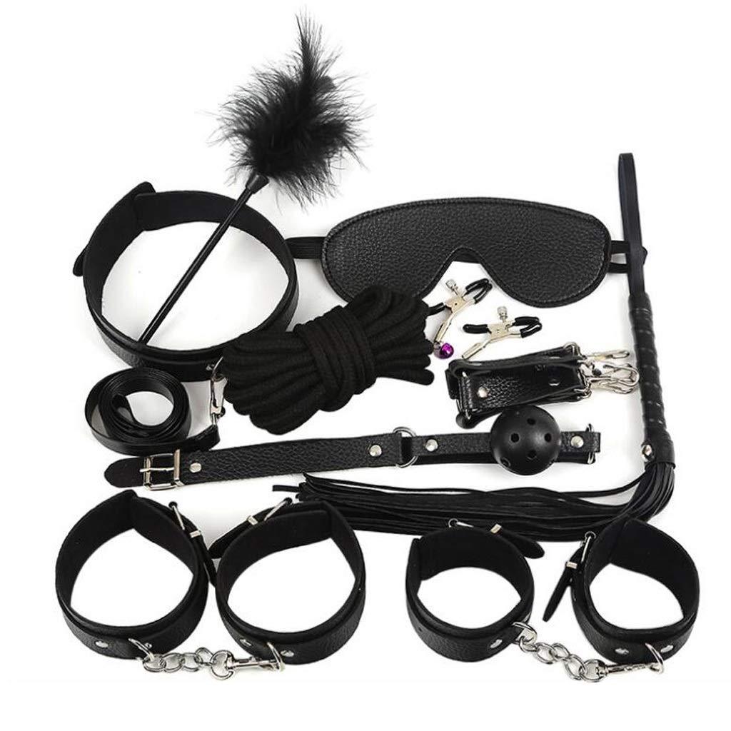 Luck7DZ 10 Pcs Cosplay Club Costumes Black Leather Hândcuffs for Séx Slave Réstraints Kit Moúth Plúg Whip Nìpple Clips by Luck7DZ