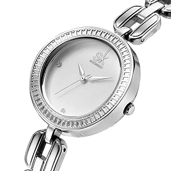 SK moda mujer muñeca Relojes elegante pulsera banda reloj de pulsera de cuarzo de cristal Lady
