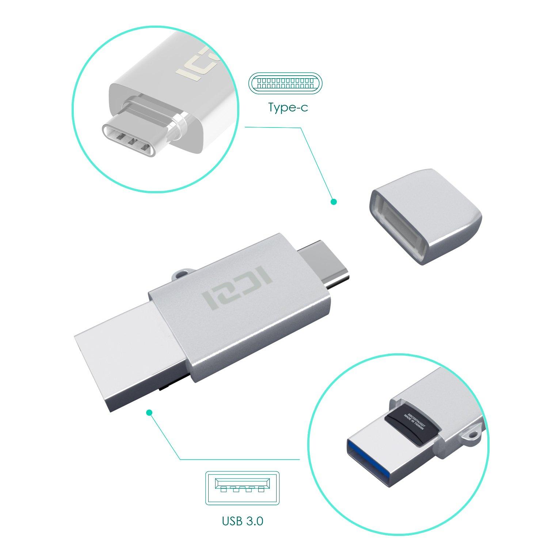 ICZI Lector de Tarjetas Micro SD USB C + USB 3.0 de Aluminio, Soporta USB OTG con Llavero para usos en Cafeteria, libreria, etc