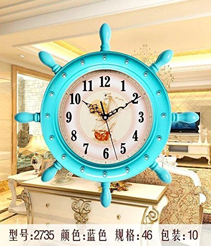 (Komo Stylish Bold Classic Quartz Large Wall Clock Non Ticking Silent Wall Clock Creative Bedroom Living Room and Modern Quartz Clock,20 inch Blue,2735)