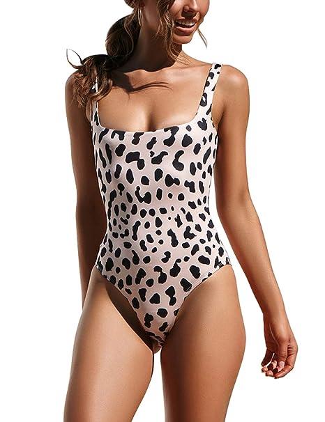 a4dc61cee2 Honlyps Womens One Piece Swimsuit High Cut Bathing Suit Sexy Bikinis  Leopard Snakeskin Print Swimwear Black