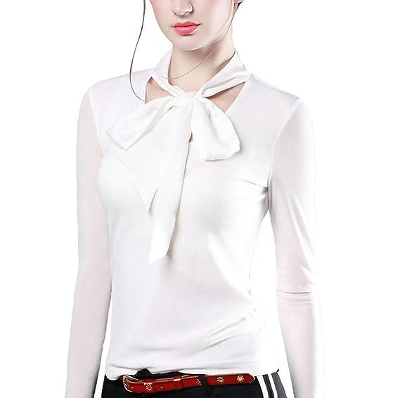 Chemiser Papillon Top Acvip Devant Blouse T Shirt Noeud Nylon Femme vtqx0qHZwz