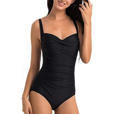 WIN.MAX Traje de baño Acolchado para Reducir Barriga, Traje de baño de Talla Grande para Mujeres Monokinis Vintage Push up