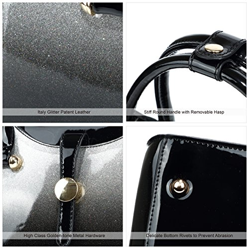 Patent Satchel Silver Handbags Leather Womens R6dwTR