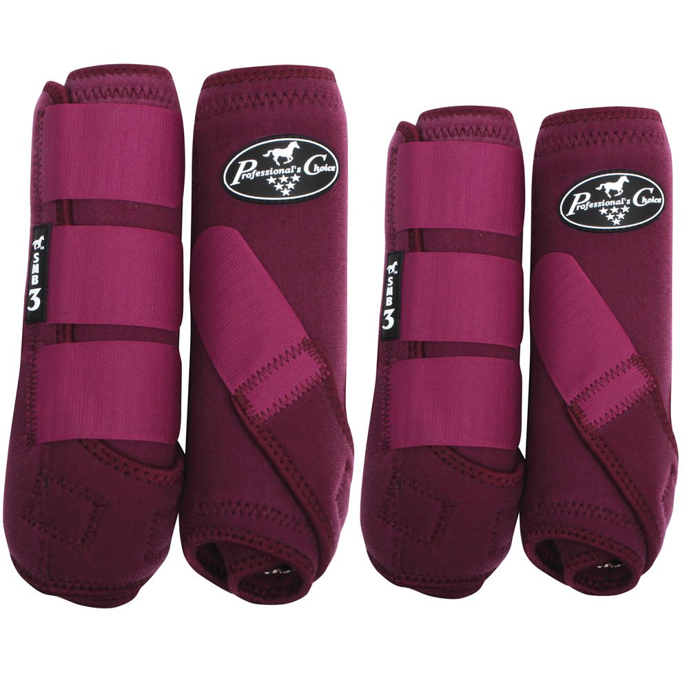 (Large, Wine) - Professionals Choice Equine Sports Medicine Boot Value Pack, Set of 4 L ワイン B079D9S5CN