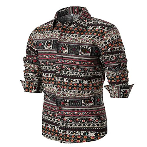 Limsea 2018 Autumn Men's Long Sleeve Stand Collor Printed Shirt Blouse -