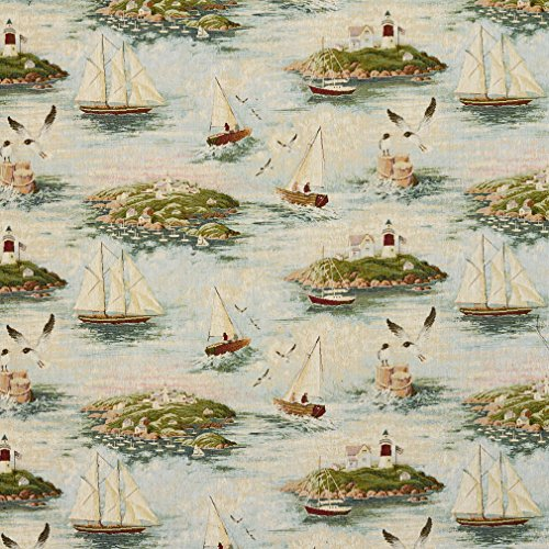J9600C Costal Scene with Lighthouse and Sail Boats Woven Decorative Novelty Upholstery Fabric by The Yard ()