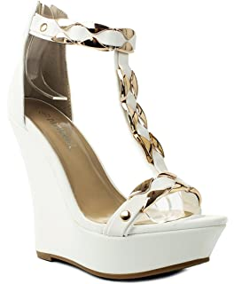 e637e0db716269 Stephy90 Gold Plate T-Strap Ankle Cuff Platform High Wedge Dress Sandal  Shoes