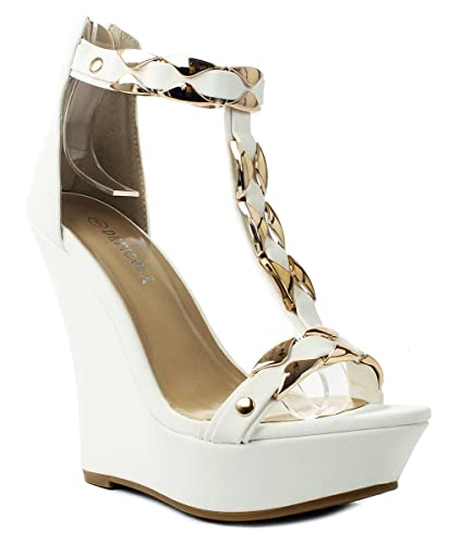 3c34a2527 Stephy90 White Gold Plate T-Strap Ankle Cuff Platform High Wedge Dress Sandal  Shoes-
